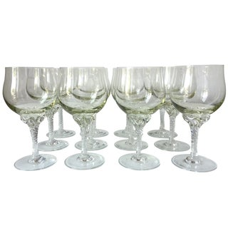 Hand-Blown Crystal Citrine/Clear Goblets - Set of 12
