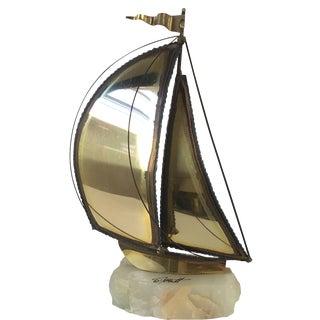 Brass & Quartz Sailboat by Demott