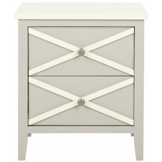 Two Drawer Side Table - Grey and White
