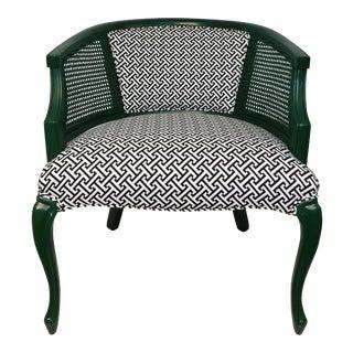 Vintage Barrel Back Cane Chair