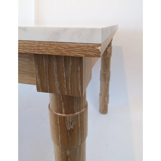 Custom Cersued Oak & Marble Dining Table - Image 6 of 6