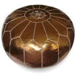 Image of Moroccan Leather Bronze Pouf