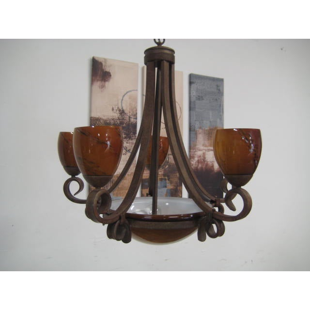 Blown Glass Rustic Chandelier - Image 6 of 8
