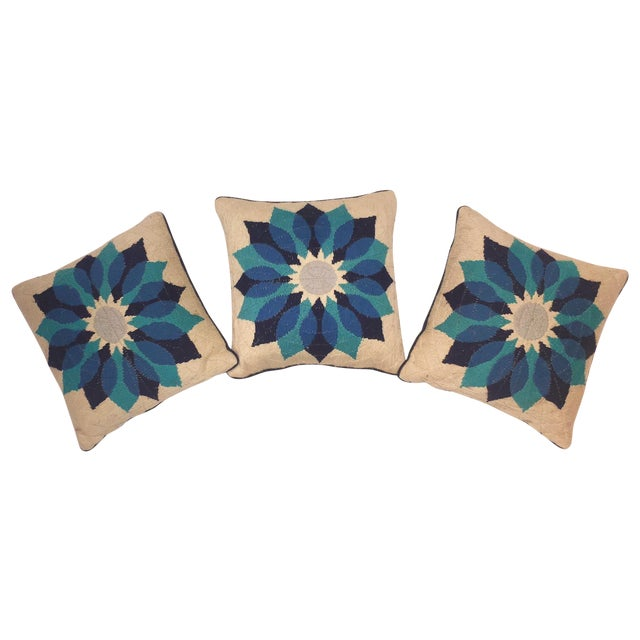 Rare Jonathan Adler Blue Flower Pillows - Set of 3 - Image 1 of 6