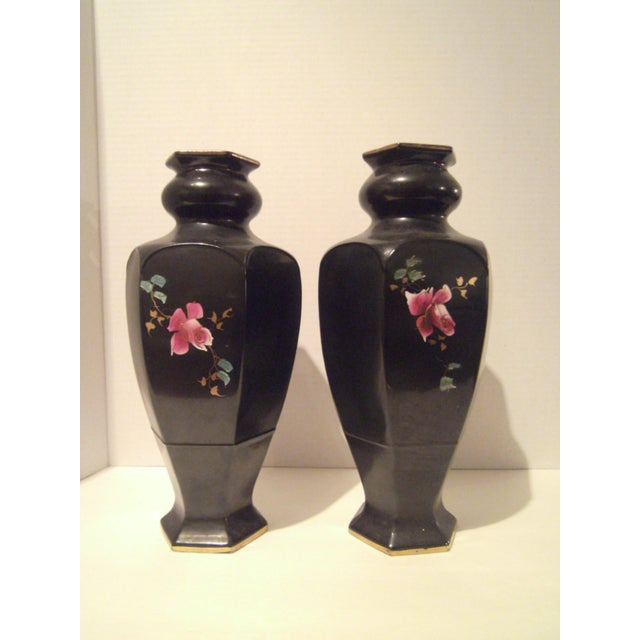 Black Hand Painted Vases - A Pair - Image 4 of 9
