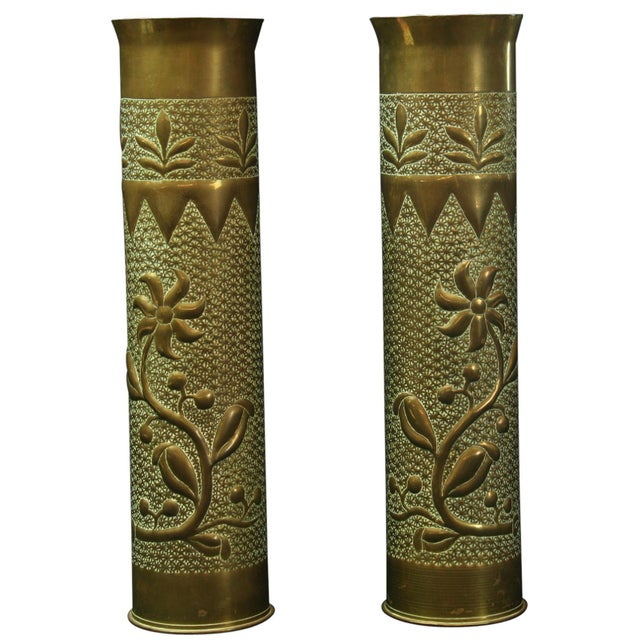 Antique Belgian Militaria Shell Case Brass Vases - Image 1 of 8