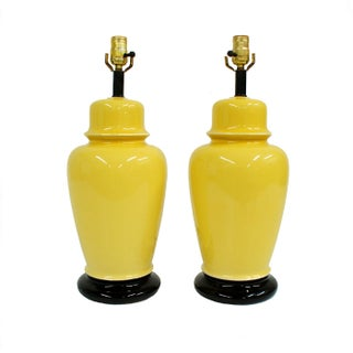 Bright Yellow Ceramic Ginger Jar Lamps - A Pair