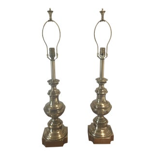 Brass Round Base Lamps - A Pair