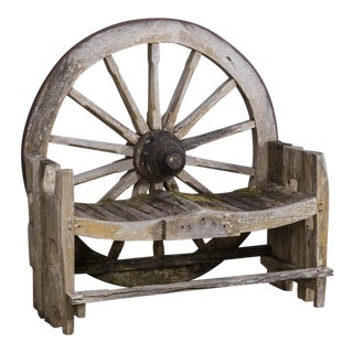 Antique French Wagon Wheel Large Garden Bench circa 1880