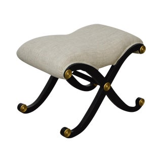 Hickory Chair X Base Black & Gold Regency Style Ottoman Bench