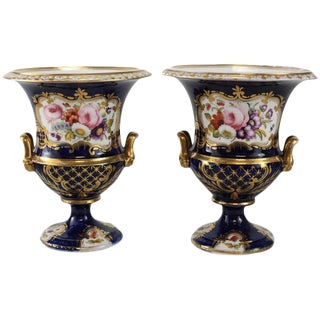 Circa 1900 Continental Hand Painted Urns - a Pair