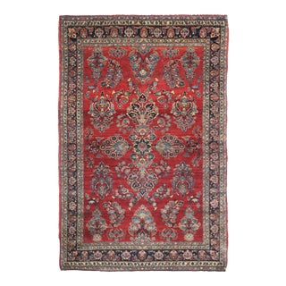 "Hand Knotted Antique Saruk Rug - 6'8"" X 4'5"""
