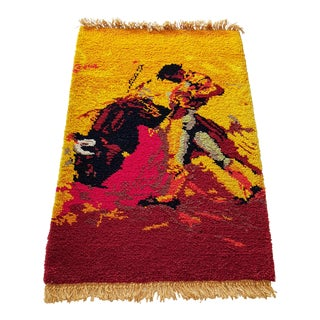 1960's Plush Cotton Bullfight Pictorial Rug- 3′ × 4′10″