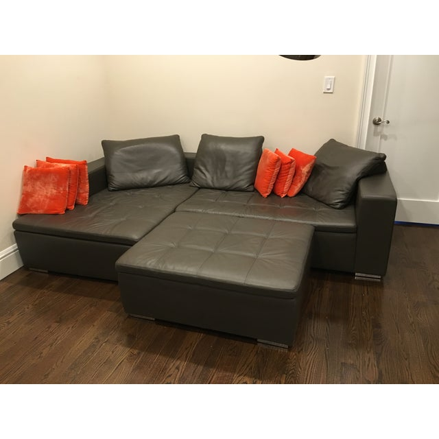 Leather Corner Sofa with Pillows - Image 6 of 7