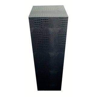 Croc Embossed Black 'Leather' Pedestal - Pair