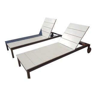 White Tribu Chaise Lounge Chairs - A Pair