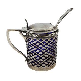 Sterling & Cobalt Glass Mustard Jar