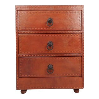 Mid-Century Modern Cordovan Leather Three-Drawer End Table