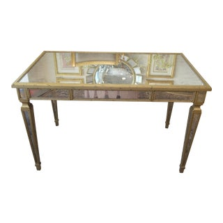 Antiqued Silver Leaf Mirrored Writing Table