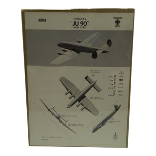 Circa 1943 WWII Aircraft Recognition Poster Junkers Ju 90 German
