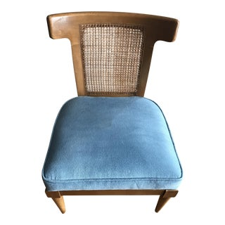 Mid-Century Side Chair with Blue Seat
