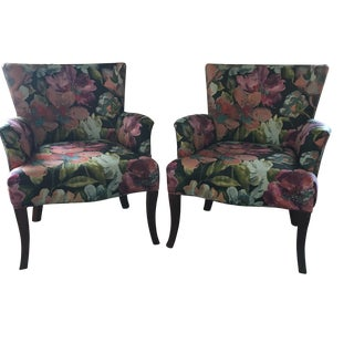 Pair of Crate & Barrel Floral Upholstered Chairs