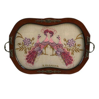 Vintage Encased Silk Peacock and Wood Tray