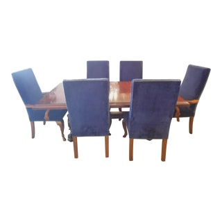 Ralph Lauren Dining Table With 6 Navy Blue Chairs