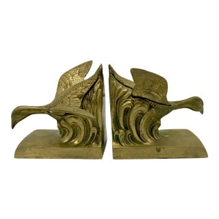 Mid-Century Flying Geese Brass Bookends - A Pair