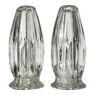 Vintage Fluted Crystal Salt & Pepper Shakers