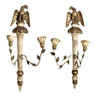 Pair of Italian Giltwood Federal Style Sconces
