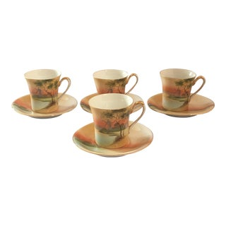 Handpainted Noritake Windmill Scene Cups & Saucers - Set of 4