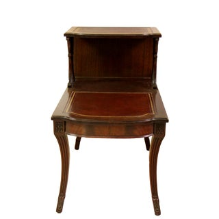 English Mahogany Leather Library Side Table