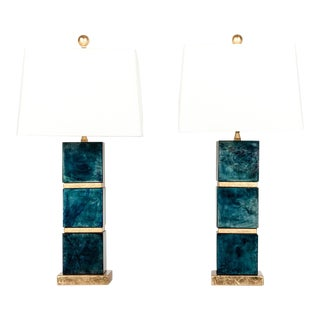 Jade Art Deco-Style Lamps - A Pair