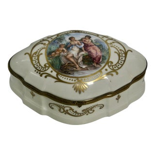 Limoges France Painted Allegorical Jewelry Box