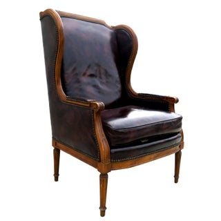 Century Furniture Louis XV Faux Blackberry Leather Wingback