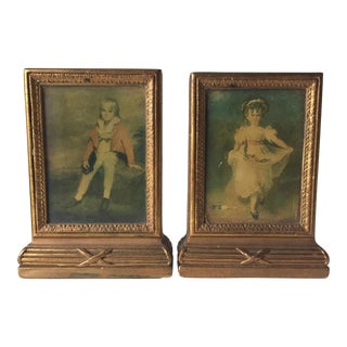 Vintage Gilt Plaster Bookends - a Pair