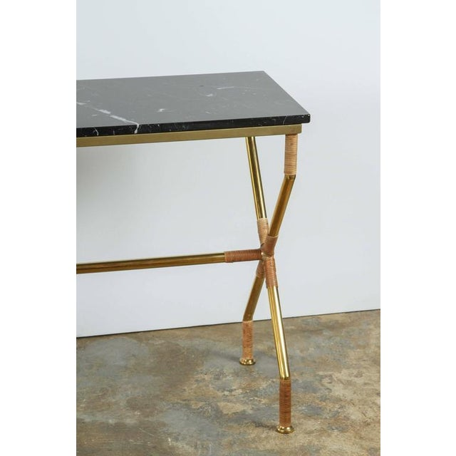 Customizable Paul Marra Brass and Raffia Console with Marble Top - Image 2 of 8