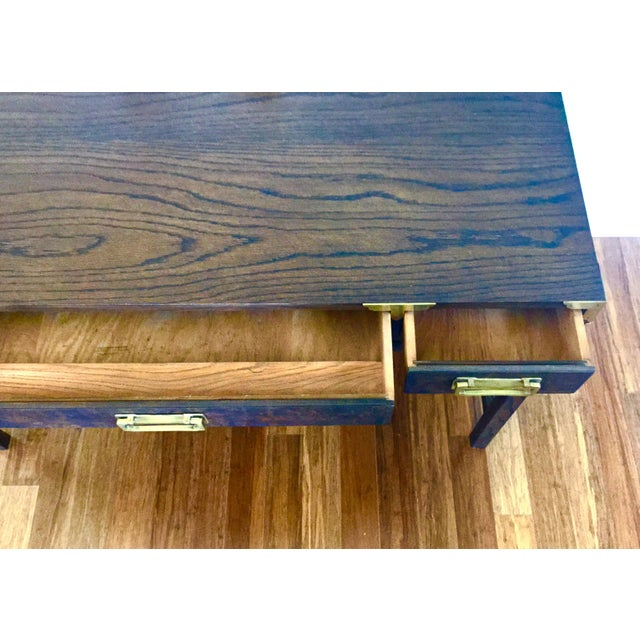 Asian Style Burl Drawers Campaign Desk - Image 5 of 8