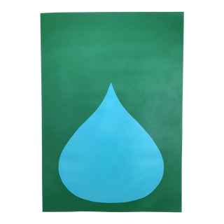 Fat Drop of Aqua on Emerald Painting
