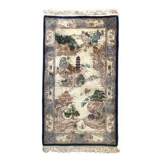 Vintage Japanese Landscape Wool Rug