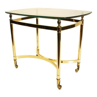 Vintage Hollywood Regency Gold Glass Top Table