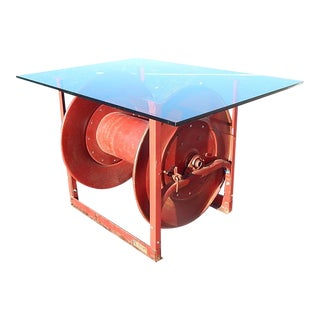 Repurposed Industrial Metal Fire Engine Hose Reel Table