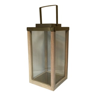 Brass Wood & Glass Lantern
