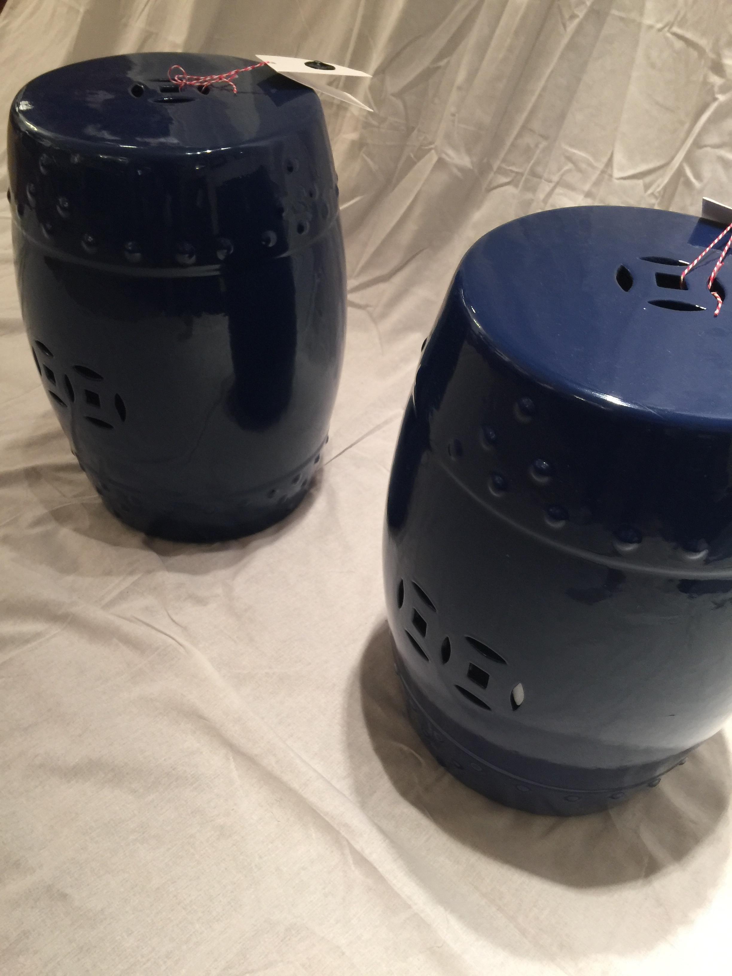 Navy Ceramic Chinese Garden Stools Pair Chairish
