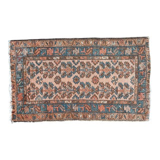 "Vintage Persian Hamadan rug with Orange and Blue -- 2'5"" x 3'11"""