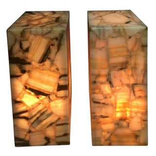 Illuminated Onyx & Resin Pedestals - A Pair