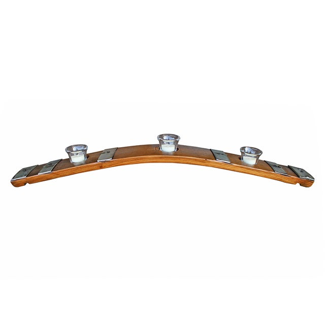 Salvaged Wine Barrel Stave Candle Holder - Image 1 of 4