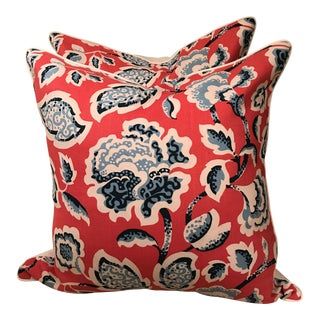Schumacher Deco Flower Berry Pillows - A Pair