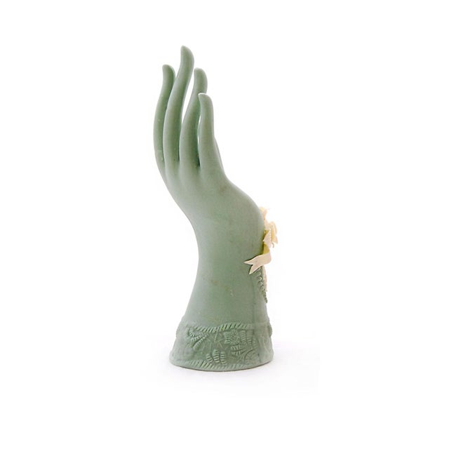 Image of Mint Porcelain Hand With Victorian Cameo & Roses
